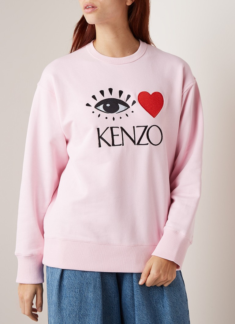KENZO - Eye Heart sweater met logoborduring - Roze