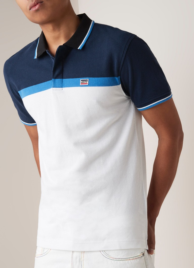 Levi's - Polo met getipte boord en colour blocking - Donkerblauw