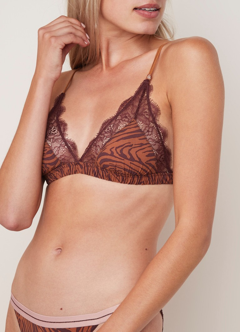 Love Stories - Love Lace triangel bralette met animal dessin en kant - Bruin