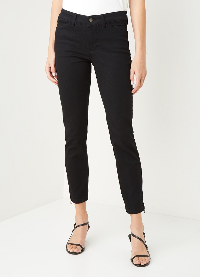 MAC - Dream high waist slim fit cropped jeans met ritsdetail - Zwart