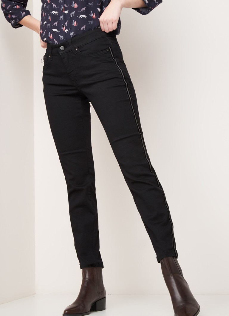 MAC - MAC Dream mid waist slim fit jeans met contrastbies - Zwart