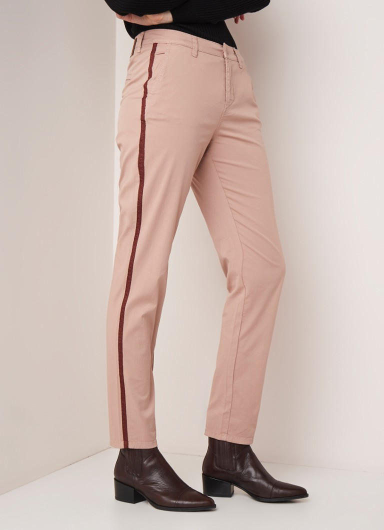 MAC - MAC High waist slim fit chino met contrastbies - Taupe