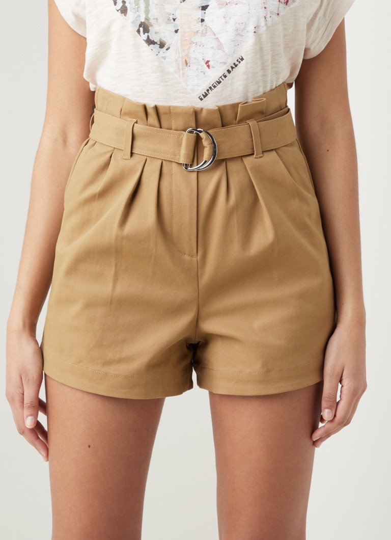 Maje - Pura high waist straight fit korte broek met ceintuur - Camel
