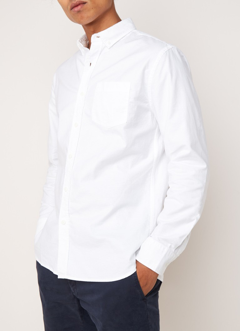 MANGO - Oxford regular fit button down-overhemd - Wit