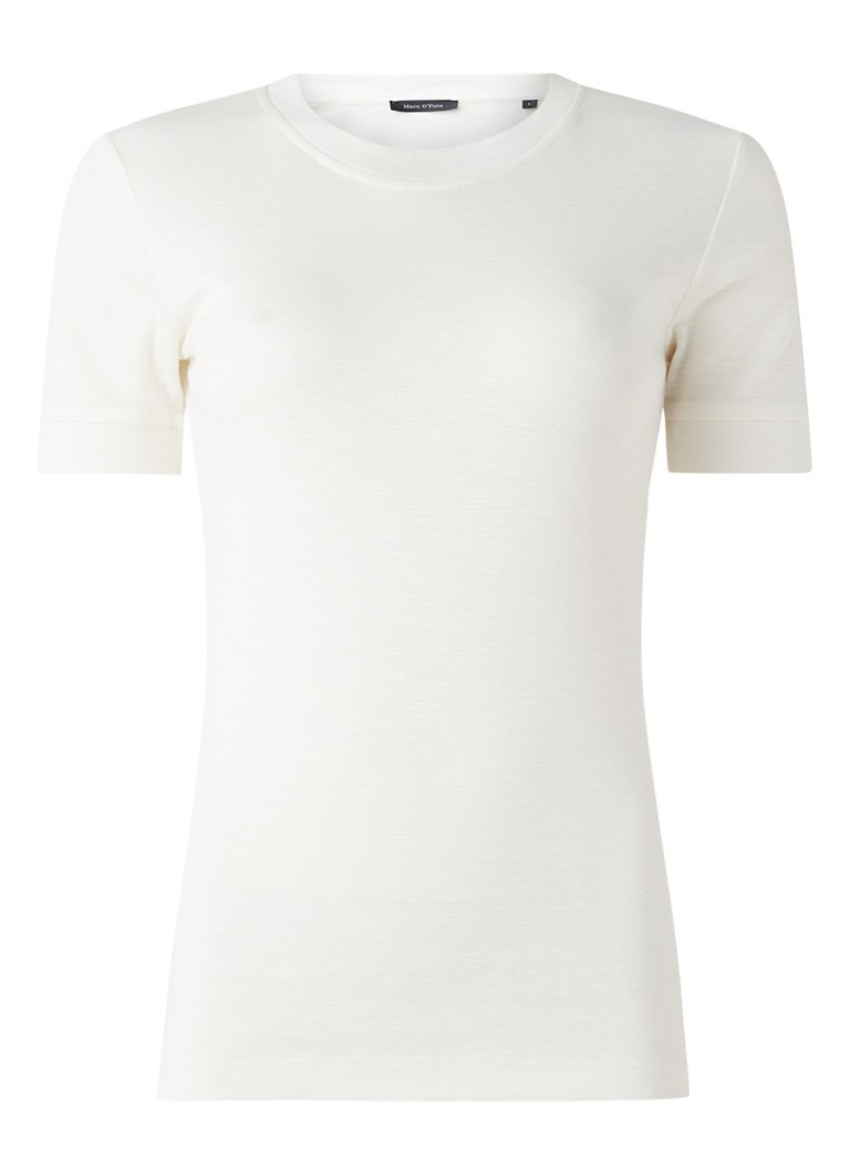 Marc O'Polo - Basic T-shirt in katoenblend - Gebroken wit
