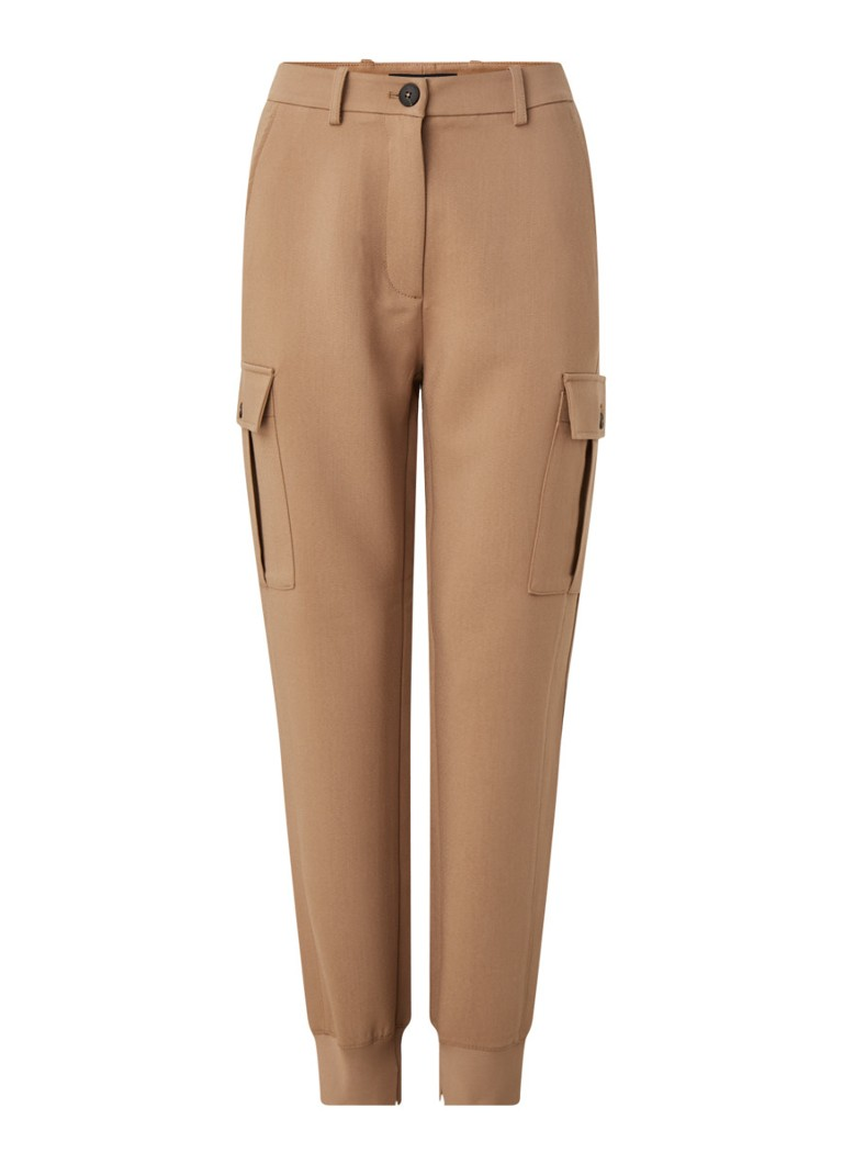 Marc O'Polo - High waist tapered fit cargobroek - Hazelnootbruin