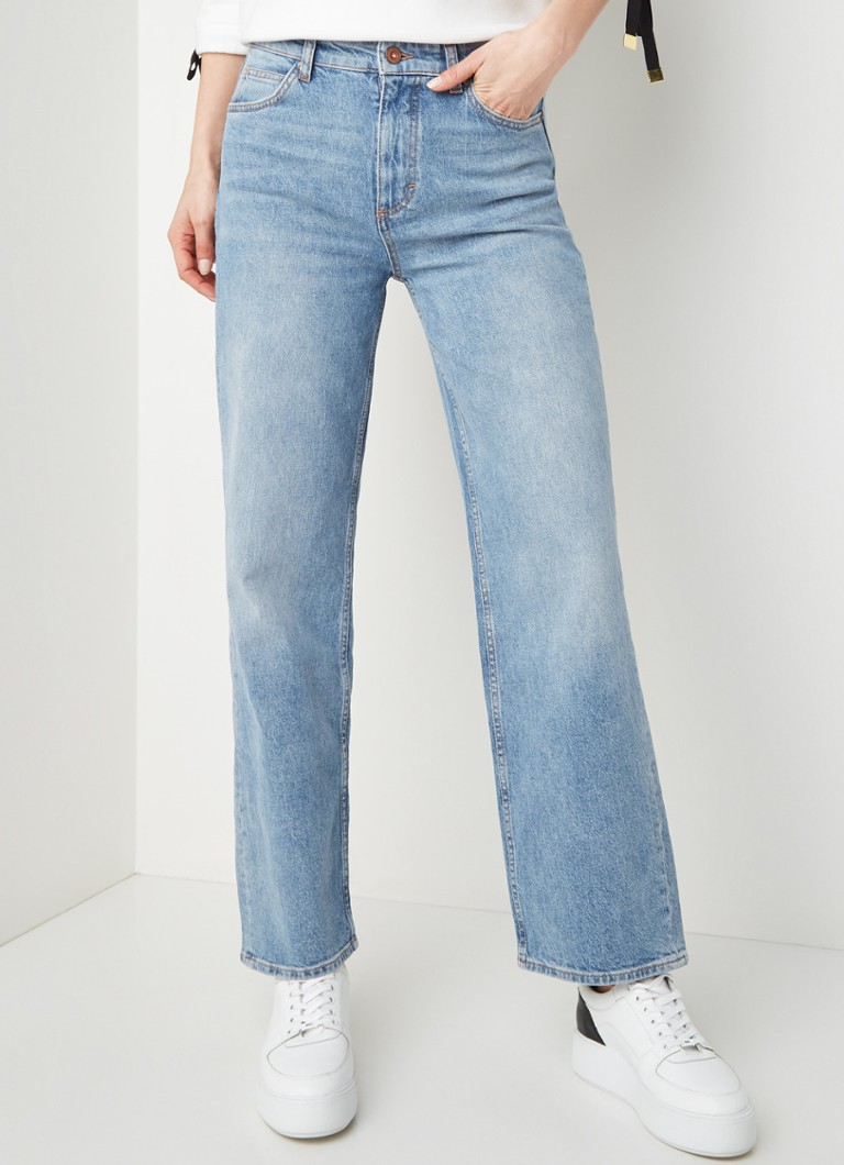 Marc O'Polo - High waist wide fit cropped jeans in lichte wassing - Indigo