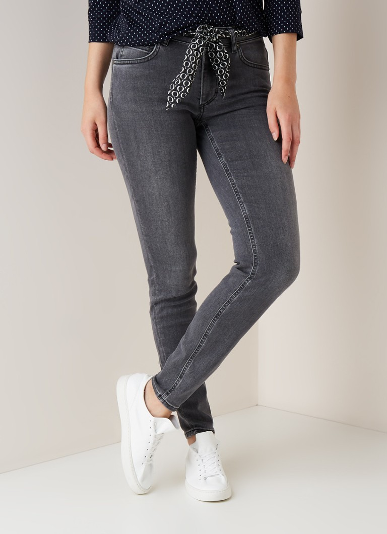 Marc O'Polo - Marc O'Polo Mid waist slim fit jeans met strikceintuur - Grijs