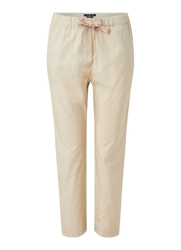 Marc O'Polo - Rygge high waist tapered fit pantalon met trekkoord - Beige