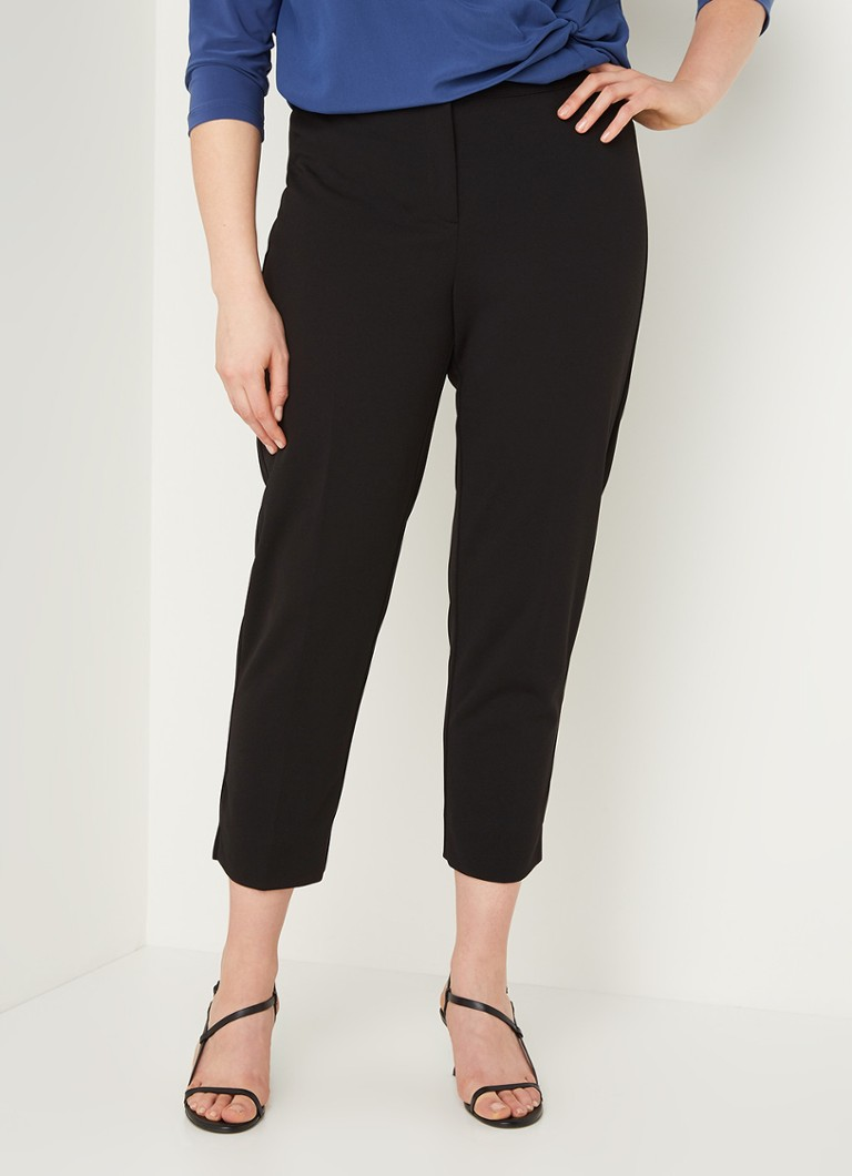 Marina Rinaldi - High waist slim fit cropped pantalon - Zwart
