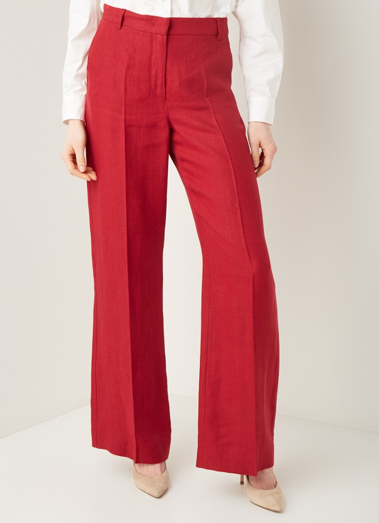 MaxMara - Ragusa high waist wide fit pantalon van linnen - Kersenrood