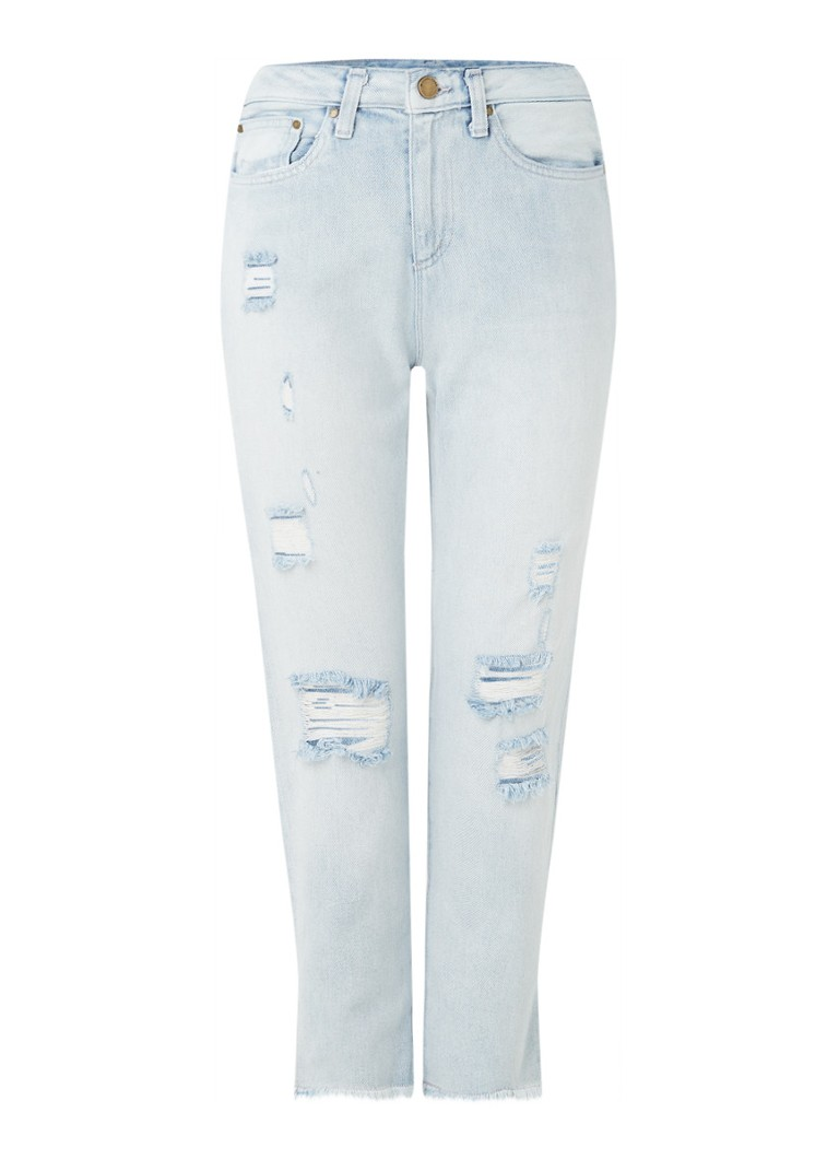 Michael Kors - High waist tapered fit jeans met ripped details - Indigo