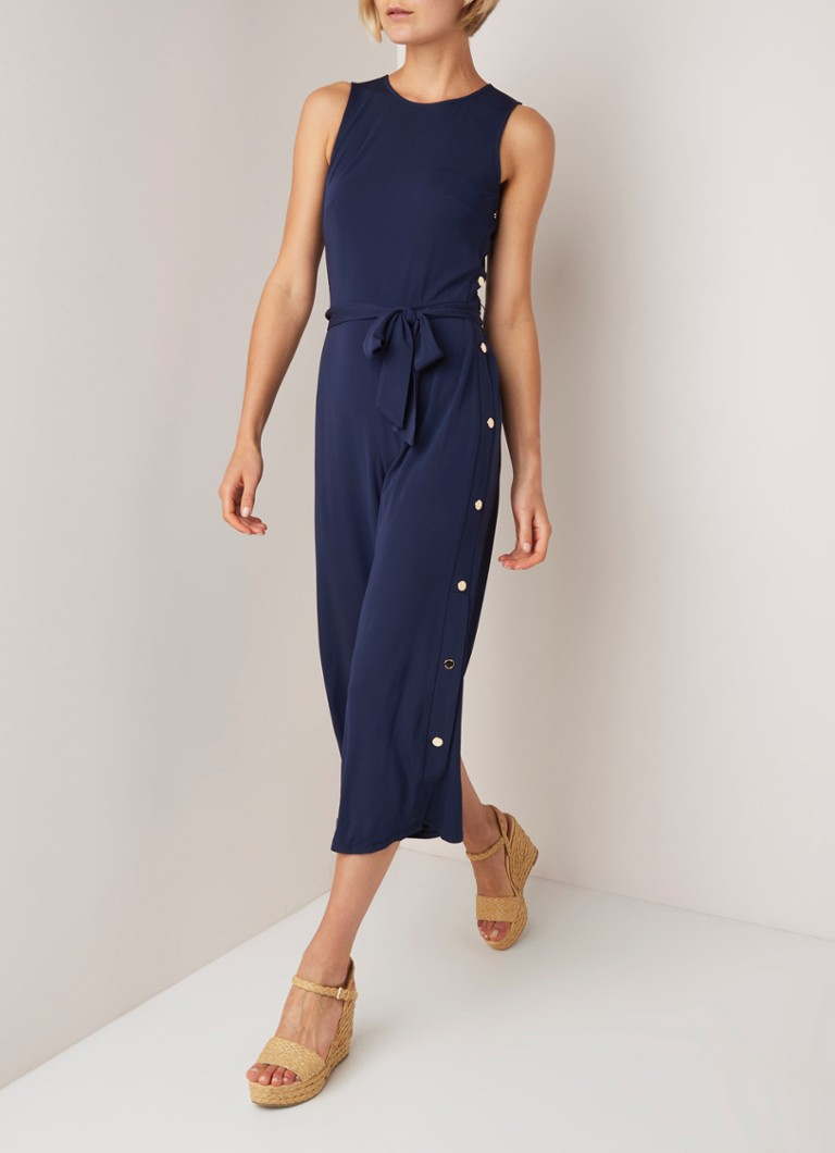 Michael Kors - Wide fit cropped jumpsuit met strikceintuur en drukknoopsluiting - Donkerblauw