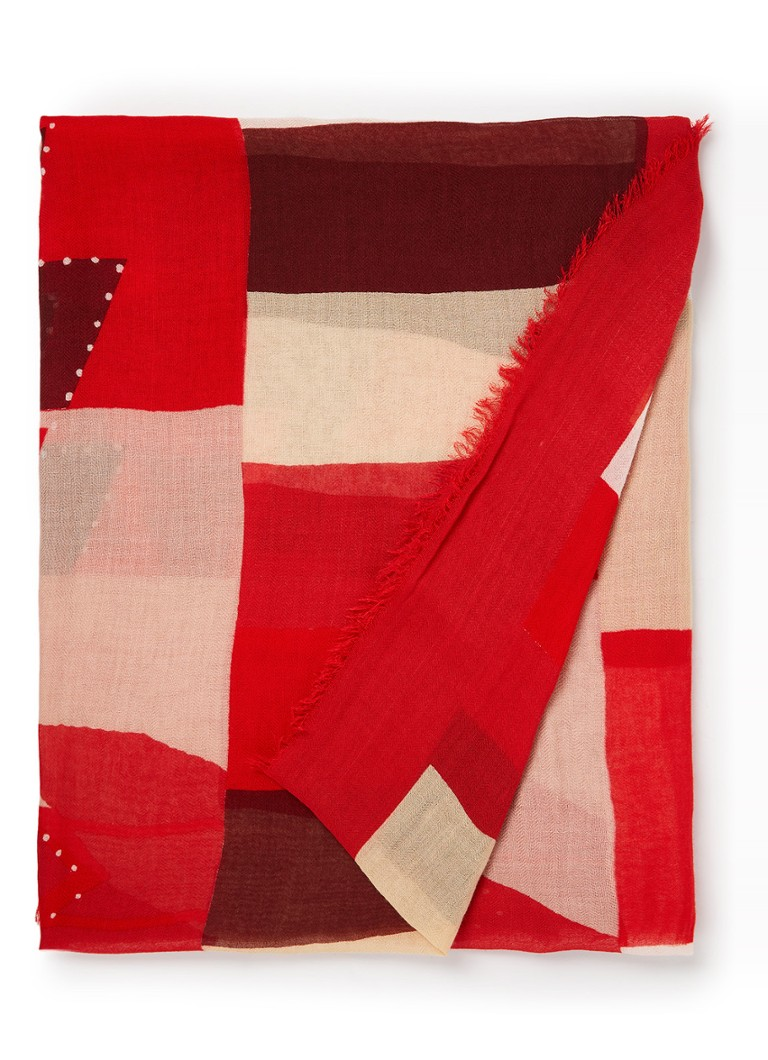 Moment by Moment  - Cally sjaal in katoenblend 195 x 85 cm - Rood