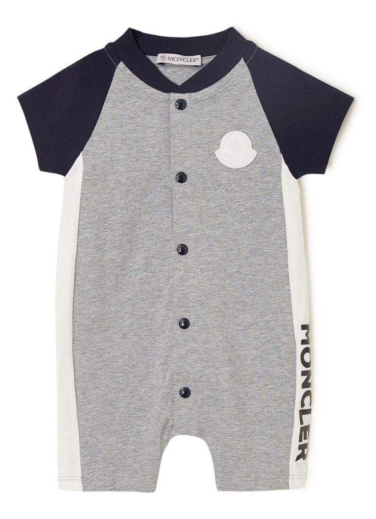 Moncler - Babypak met colourblocking en merkapplicatie  - Grijsmele