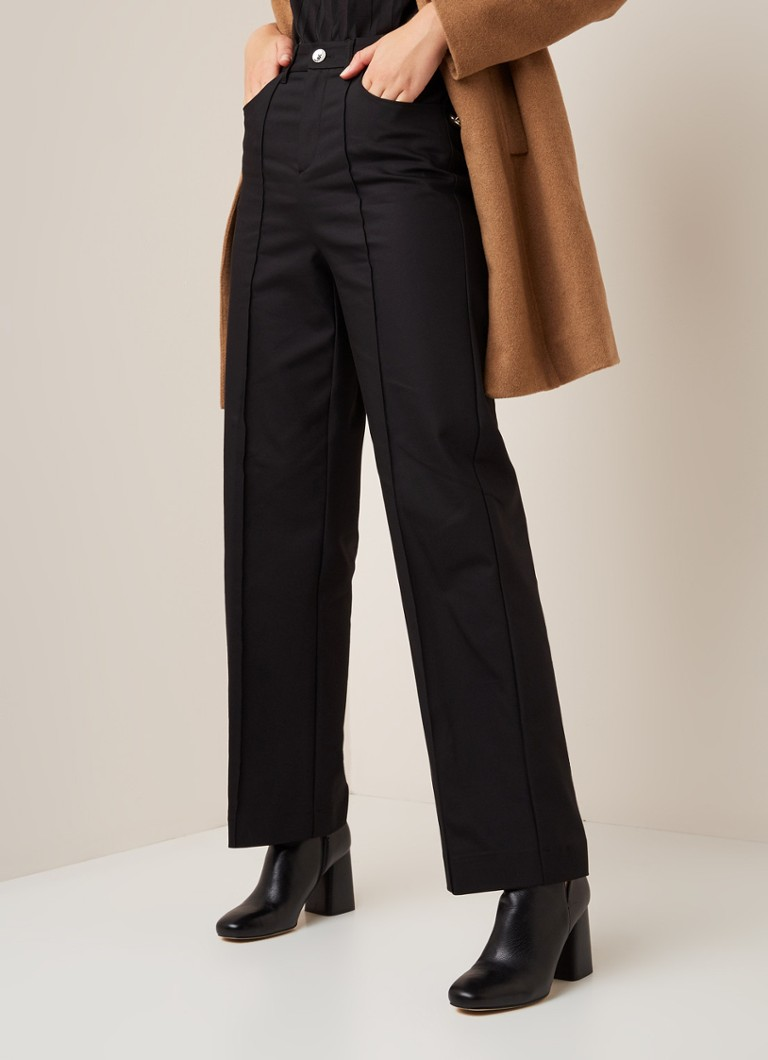 MOS MOSH - MOS MOSH Como high waist straight fit pantalon - Zwart