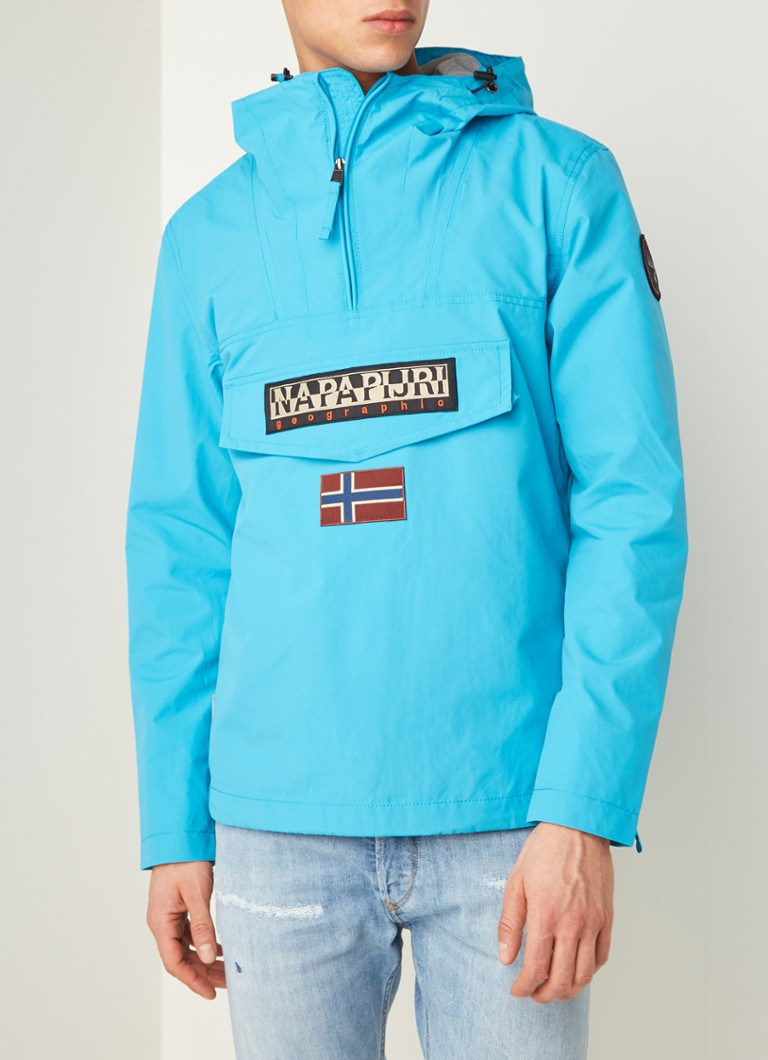 Napapijri - Rainforest anorak met merkapplicatie - Turquoise