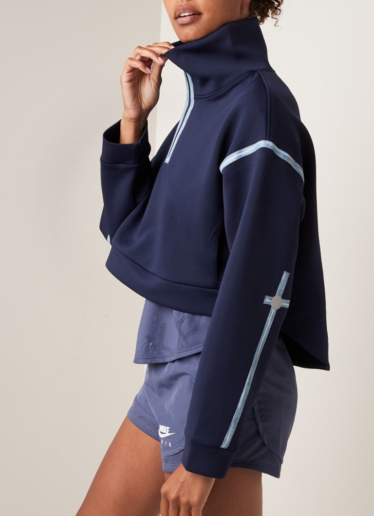 Nike - City Ready cropped sweater van fleece met halve rits - Donkerblauw