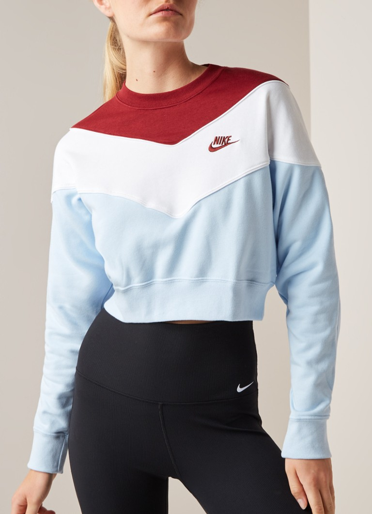 Nike - Heritage cropped sweater met colour blocking - Multicolor