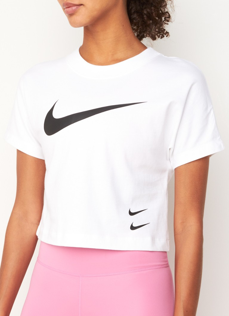 Nike - Swoosh trainings T-shirt met logoprint - Wit