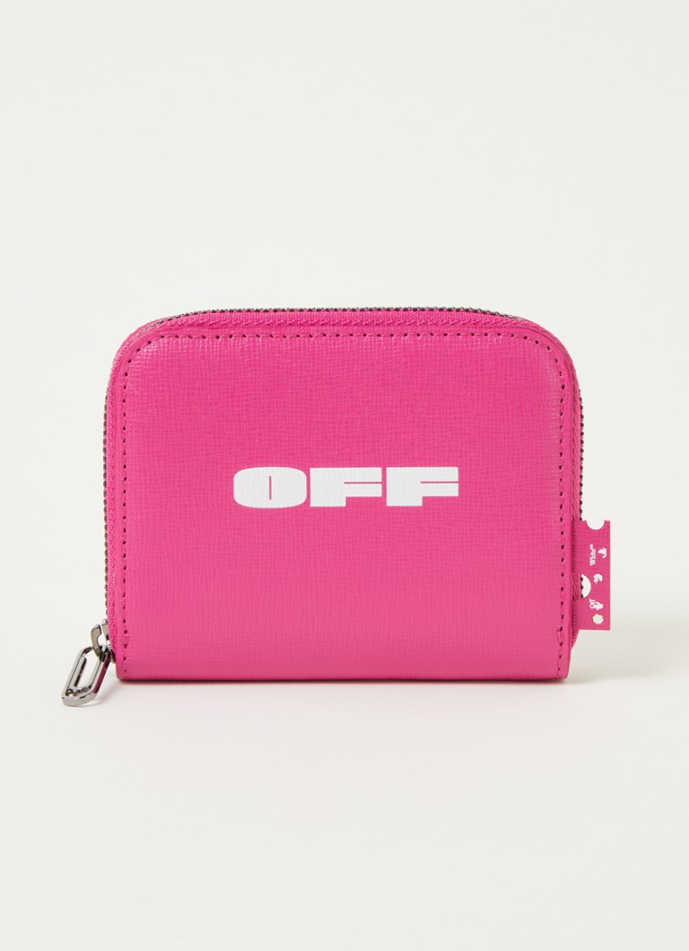 Off-White - Portefeuille zippé Zip Around en cuir avec logo - Rose