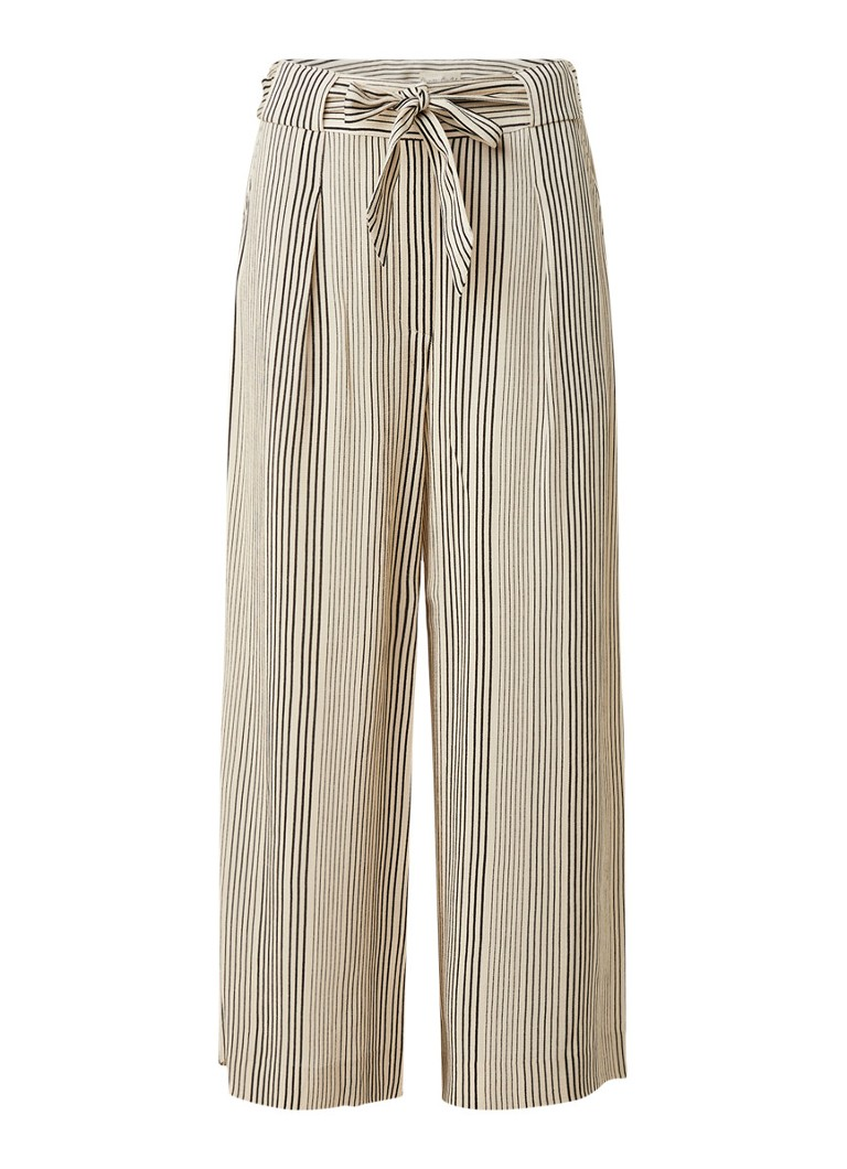 Phase Eight - Arizona high waist culotte met strikceintuur en streepprint - Creme