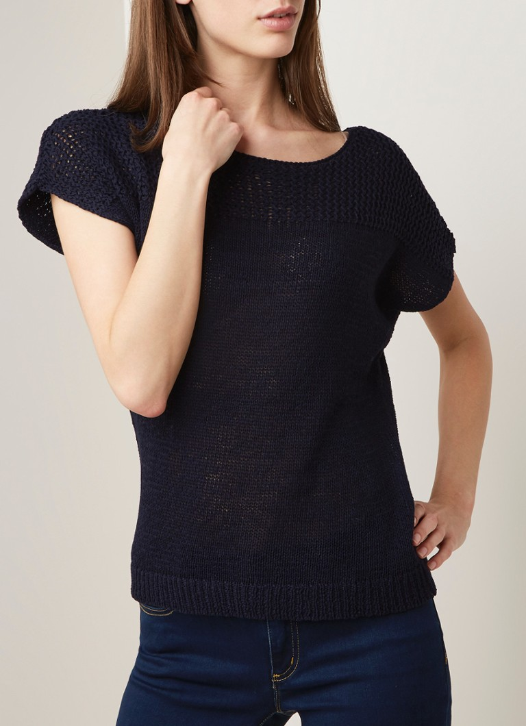 Phase Eight - Cecilia gebreide top in katoenblend - Donkerblauw