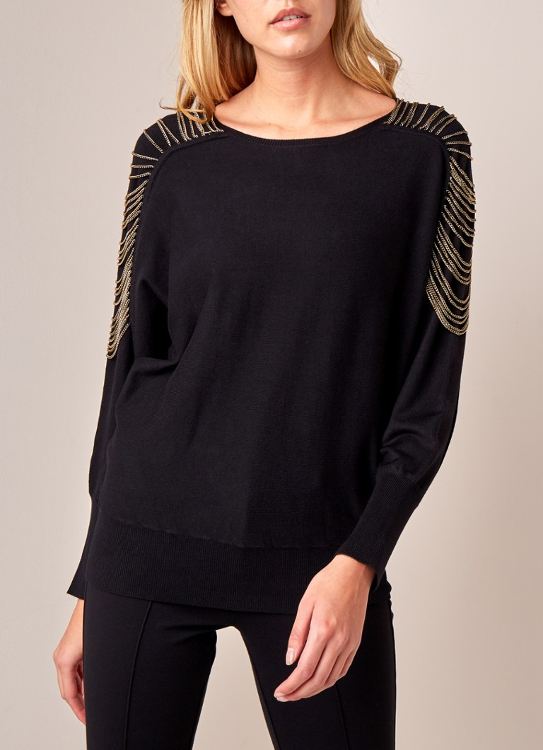Phase Eight - Claudia pullover met ketting  - Zwart