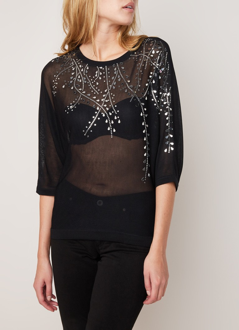 Phase Eight - Mazy semi-transparante pullover met strass - Zwart
