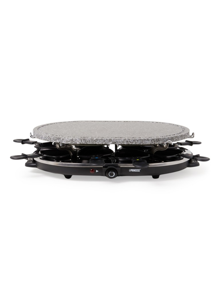 Princess - Raclette 8 Oval Stone Grill Party Gourmet 162720 - Noir