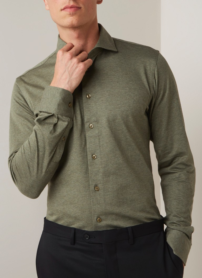Profuomo - Knitted slim fit overhemd van jersey - Donkerkhaki