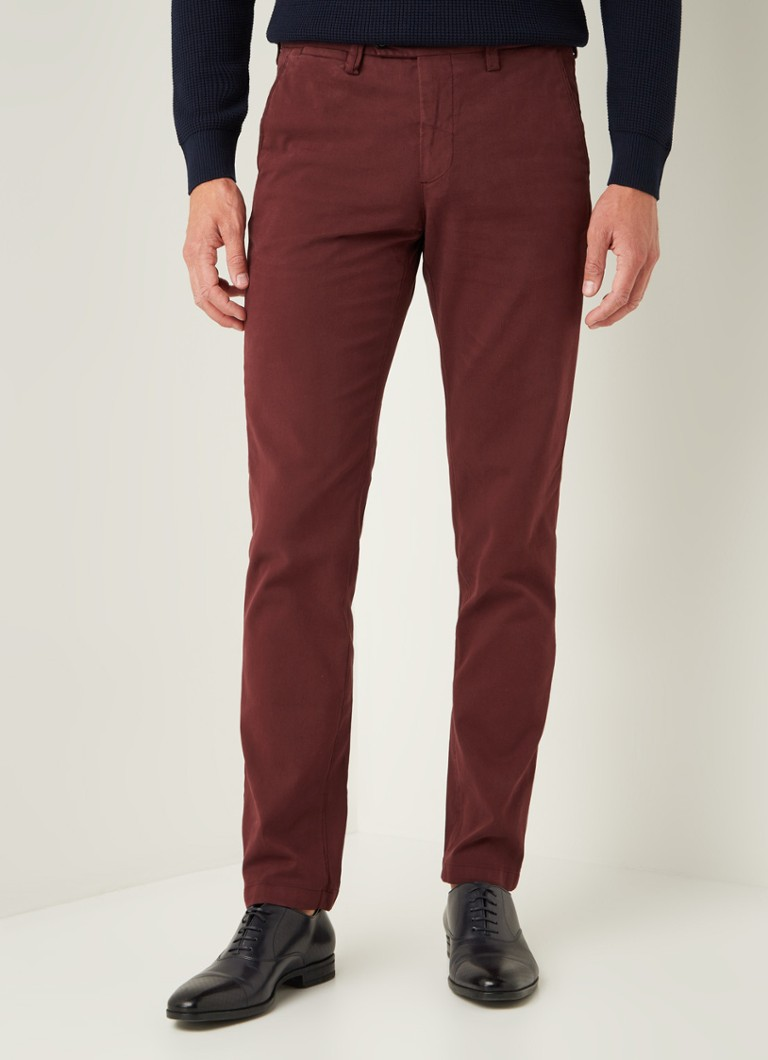 Profuomo - Slim fit chino met structuur en stretch - Bordeauxrood