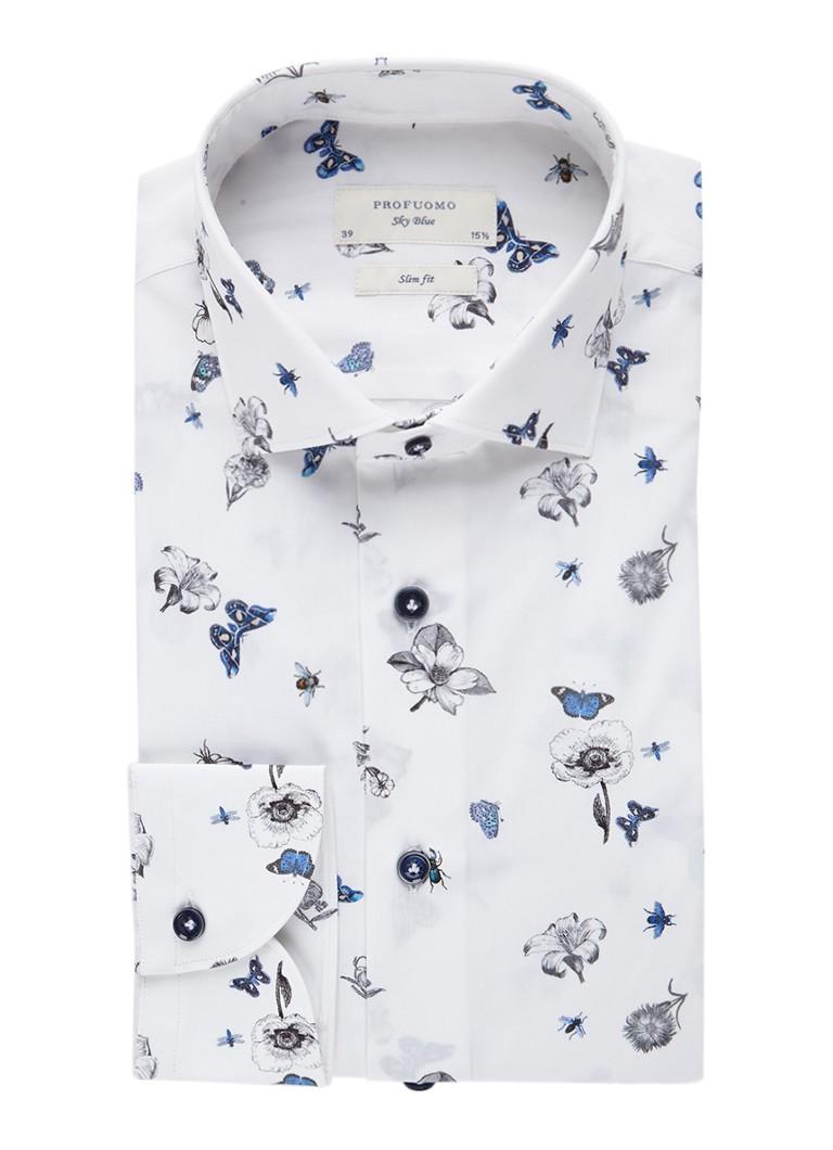 Gebloemd Overhemd.Profuomo Slim Fit Overhemd Met Gebloemd Dessin De Bijenkorf