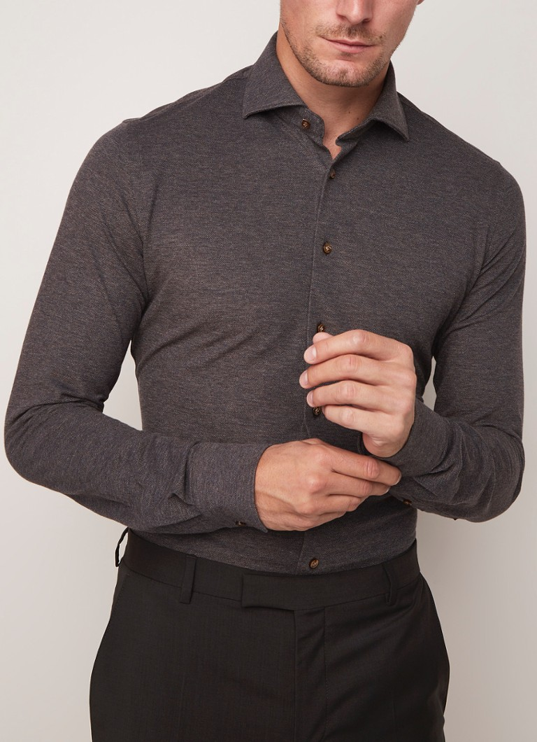Profuomo - The Knitted Shirt slim fit jersey overhemd - Donkerbruin