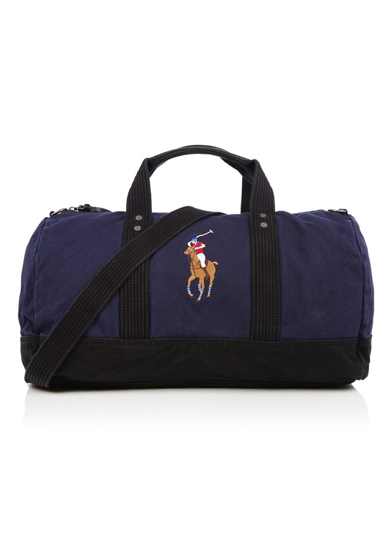 Ralph Lauren - Canvas Big Pony weekendtas met merkborduring - Donkerblauw