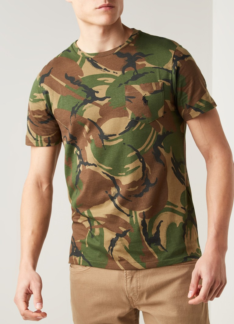 Ralph Lauren - Custom slim fit T-shirt met camouflageprint - Legergroen