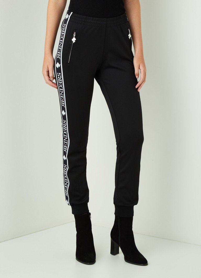 Reinders - Slim fit joggingbroek met logoprint - Zwart