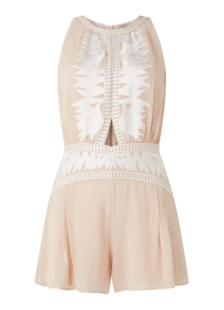 Reiss - Coco loose fit playsuit met cut-out detail en borduring - Oudroze