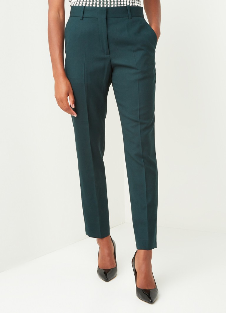 Reiss - Sadie high waist tapered fit pantalon in wolblend - Donkergroen