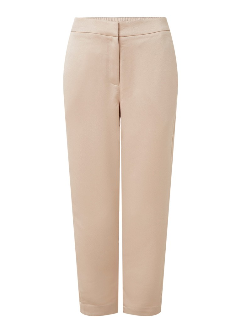 Reiss - Savannah high waist tapered fit broek van satijn - Roségoud
