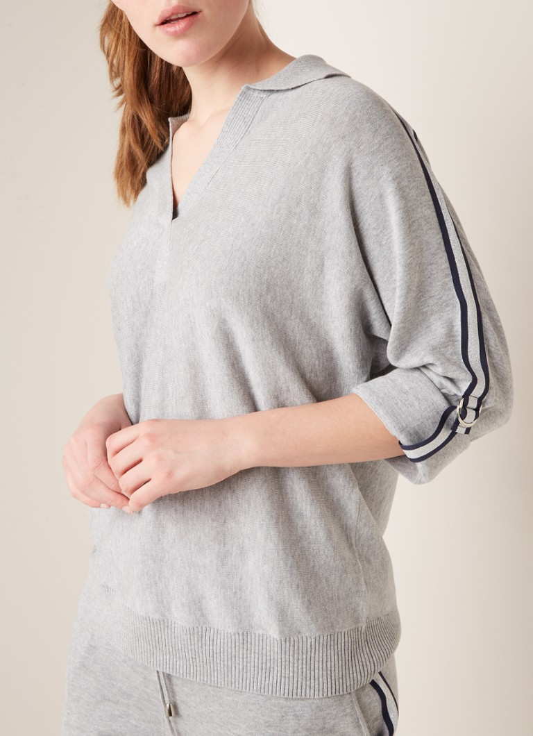 Repeat - Loose fit sweater met driekwart mouw - Grijsmele