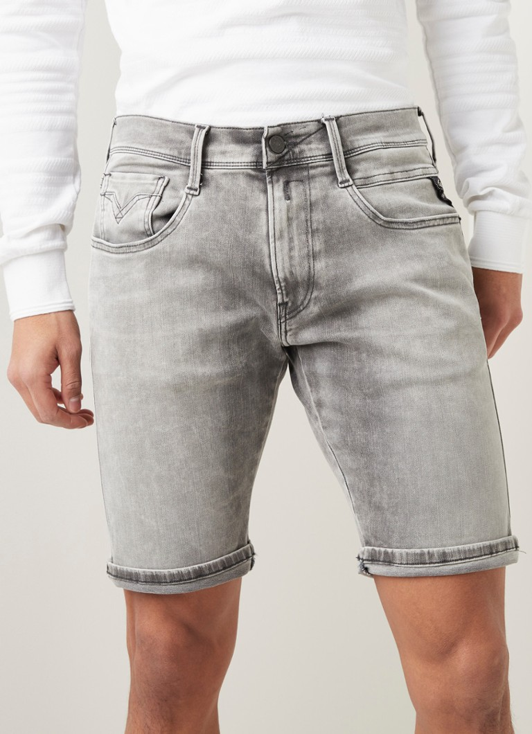 Replay - Anbass Hyperflex slim fit korte broek van denim - Middengrijs