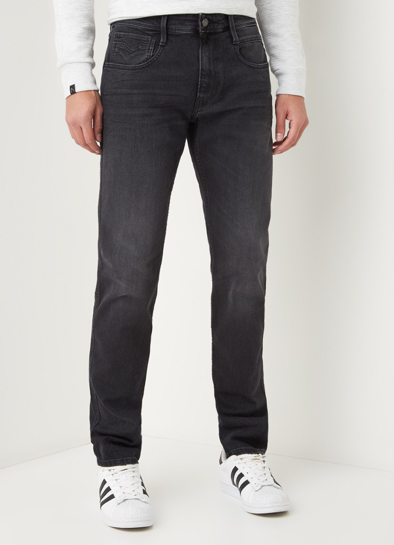 Replay - Anbass slim fit jeans met stretch - Antraciet