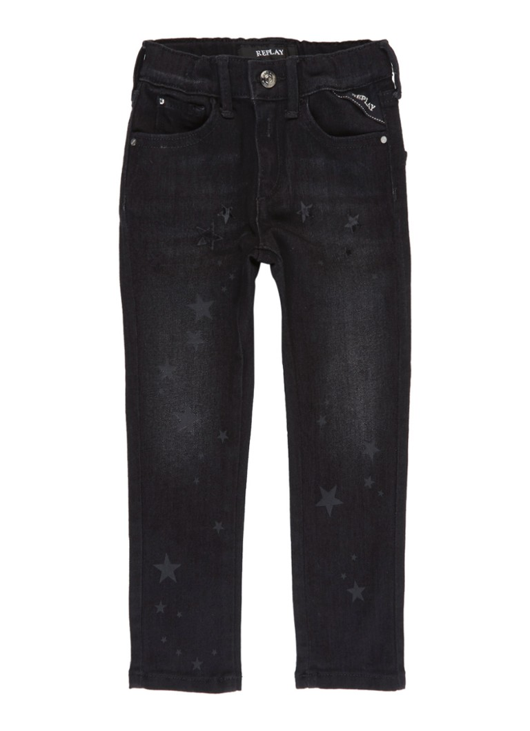 Replay&Sons - Slim fit jeans met donkere wassing en sterrenprint - Antraciet