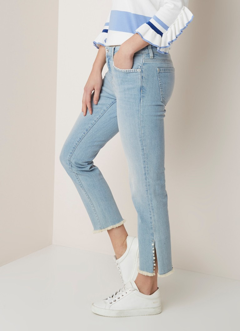 River Woods - River Woods Mid waist straight fit cropped jeans met parel applicatie - Jeans
