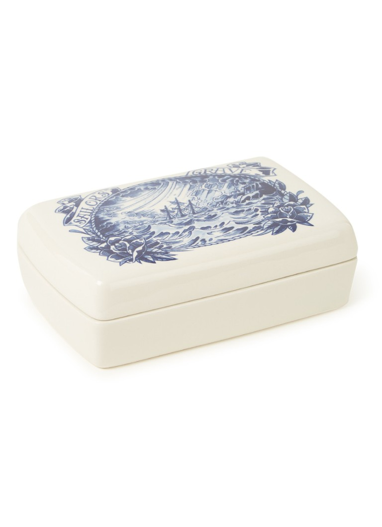 Royal Delft - Boîte de rangement Schiffmacher Royal Blue Tattoo Sailor's Grave - Bleu cobalt