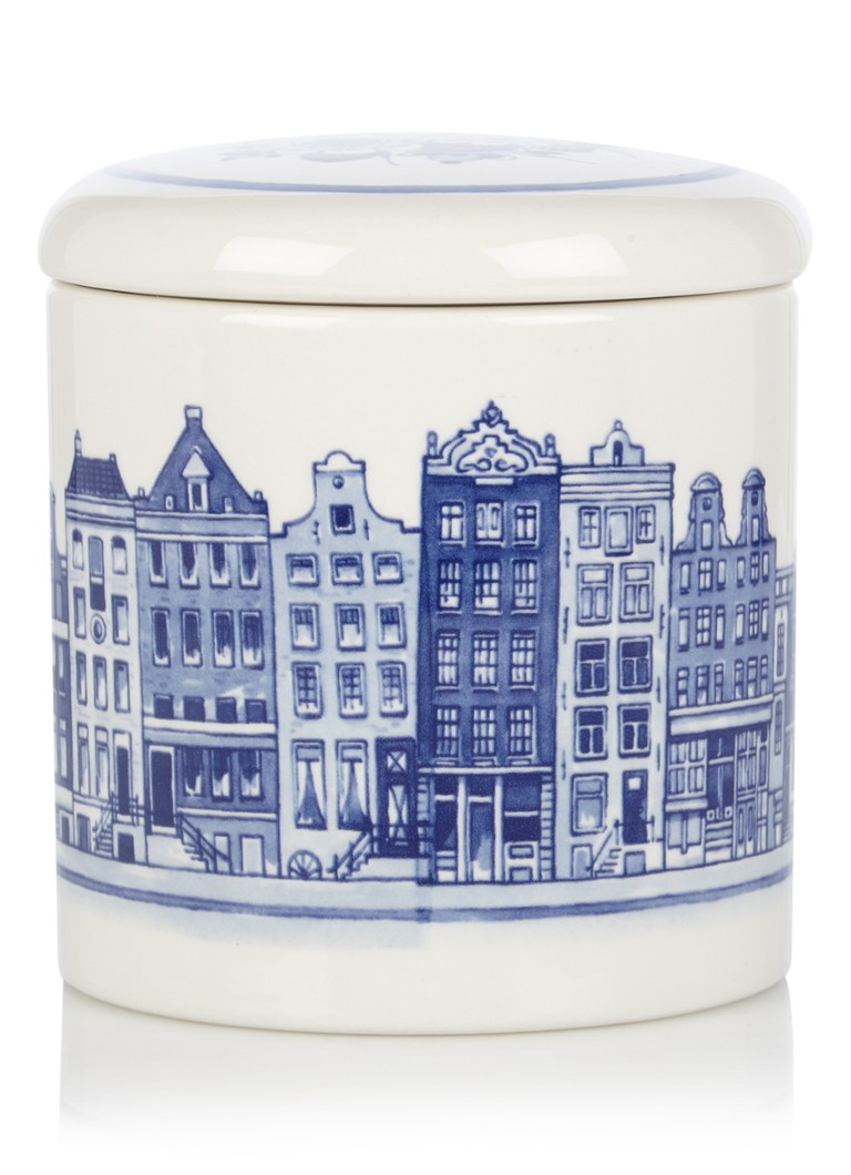 Royal Delft - Maisons du canal pot de Stroopwafel - Bleu royal