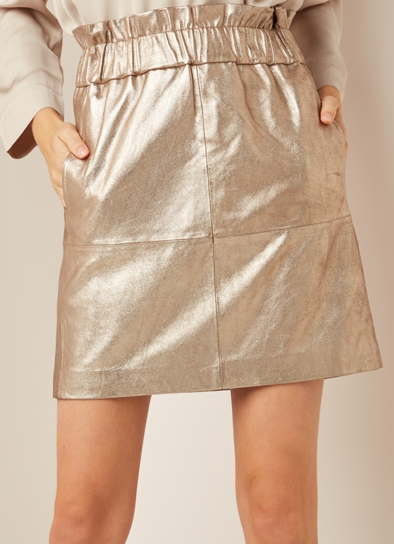Ruby Tuesday - Iben mini-rok van geitenleer met metallic finish  - Goud