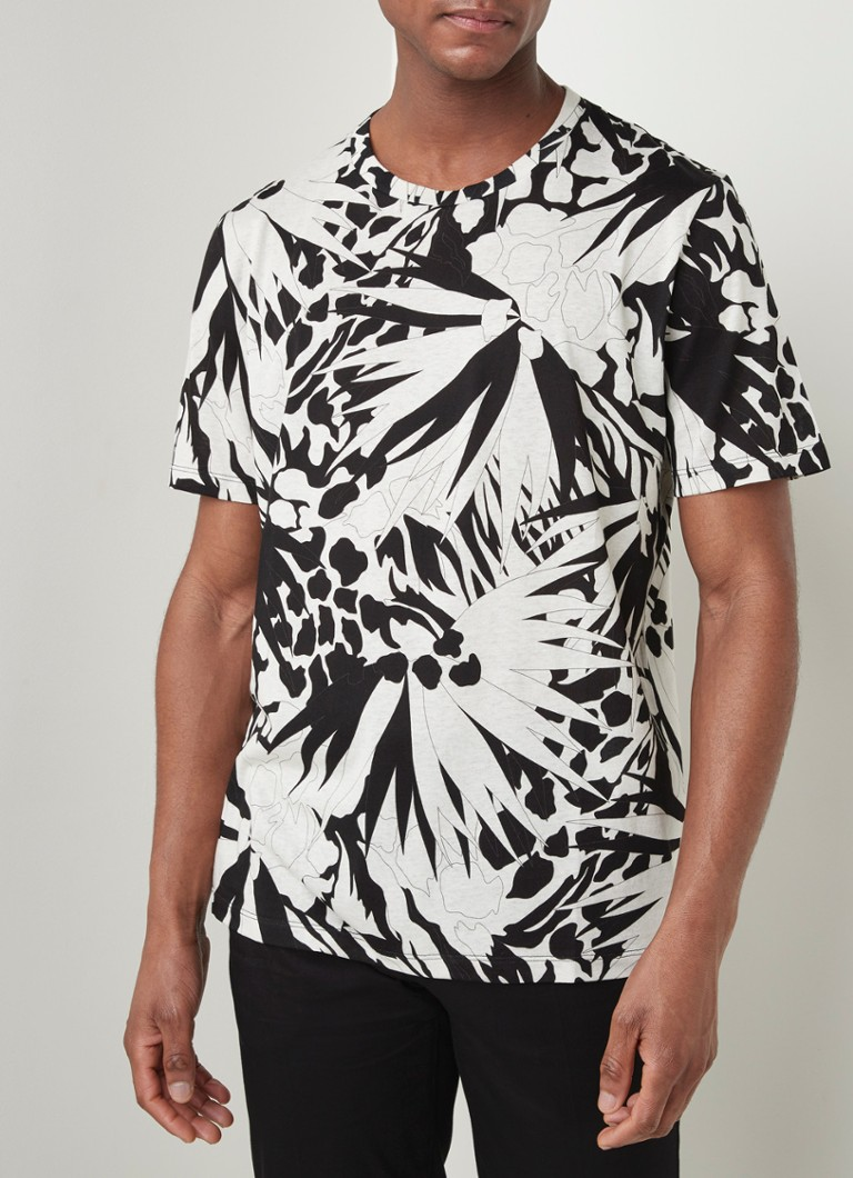 Saint Laurent - Maxi Palm T-shirt met bloemenprint - Zwart