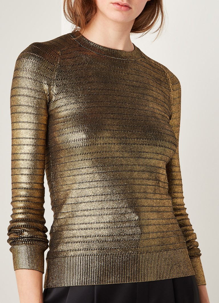 Saint Laurent - Pullover met opengebreid patroon en metallic finish - Goud